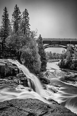 Gooseberry Falls Bridge In Black And White Poster