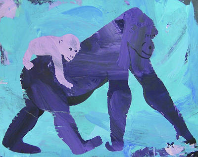 Poster featuring the painting Gorgeous Gorilla by Candace Shrope