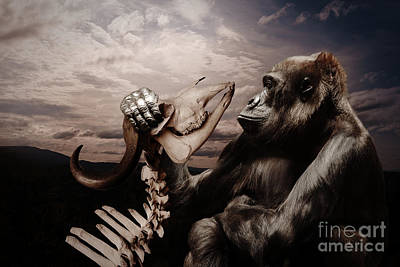 Poster featuring the photograph Gorilla And Bones by Christine Sponchia