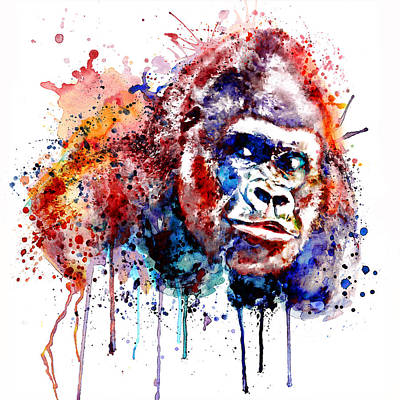 Poster featuring the mixed media Gorilla by Marian Voicu