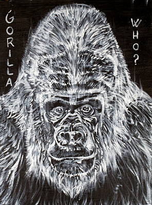 Poster featuring the painting Gorilla Who? by Fabrizio Cassetta