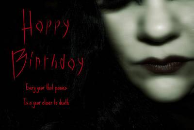 Goth Birthday Card Poster by Lisa Knechtel