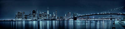 Poster featuring the photograph Gotham City Skyline by Sebastien Coursol