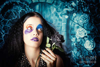Gothic Girl Holding Black Rose. Death And Mourning Poster