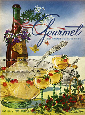 Gourmet Cover Featuring A Bowl And Glasses Poster by Henry Stahlhut