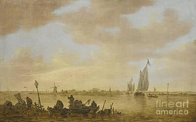 Goyen An Estuary Scene With Fisherman  Poster