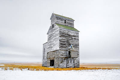 Grain Elevator On White Poster by Todd Klassy