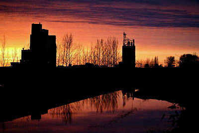 Grain Elevator Reflection Sunset Poster by Mark Duffy