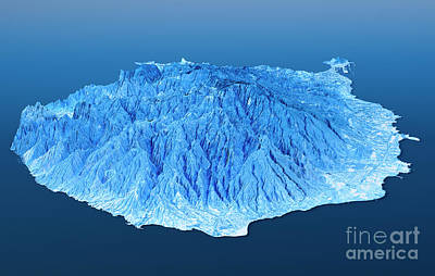 Gran Canaria Topographic Map 3d Landscape View Blue Color Poster