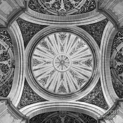 Granada Cathedral Roof Sagrario Church Bw Poster