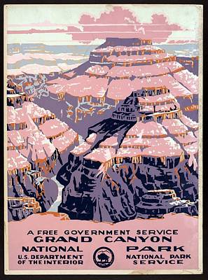 Grand Canyon - National Park - United States - Retro Travel Poster - Vintage Poster Poster