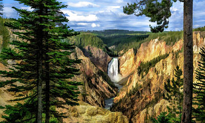 Poster featuring the painting Grand Canyon Of The Yellowstone Waterfall by Christopher Arndt