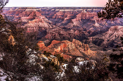 Grand Canyon Winter Sunrise Landscape At Yaki Point Poster by Brian Tada