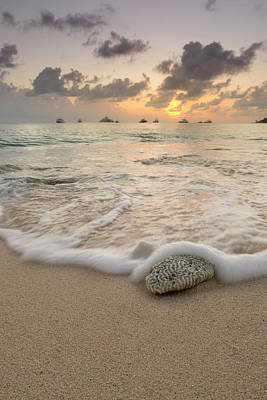 Poster featuring the photograph Grand Cayman Beach Coral Waves At Sunset by Adam Romanowicz