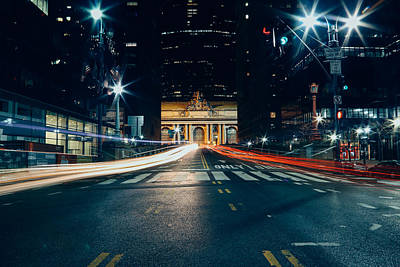 Grand Central Light Trails Poster by Ryan Howard