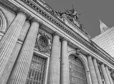 Grand Central Terminal - Chrysler Building Bw Poster by Susan Candelario
