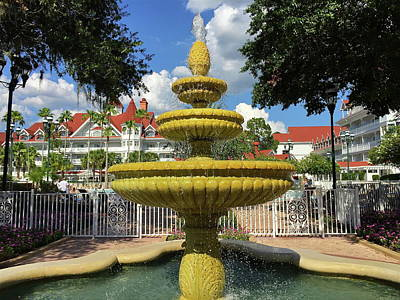 Grand Floridian Water Fountain Poster by Denise Mazzocco