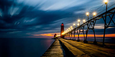 Grand Haven Lighthouse Poster by Larry Carr