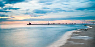 Grand Haven Pier - Smooth Waters Poster by Larry Carr