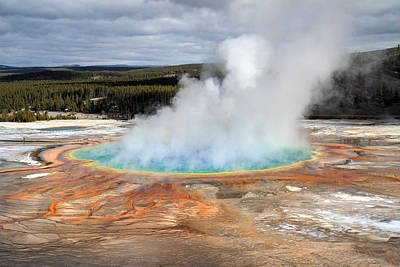 Grand Prismatic Springs In Yellowstone National Park Poster