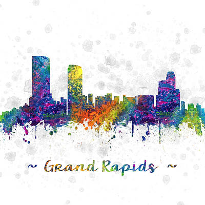 Grand Rapids Michigan Color 03sq Poster by Aged Pixel