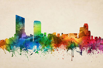 Grand Rapids Michigan Skyline 05 Poster by Aged Pixel