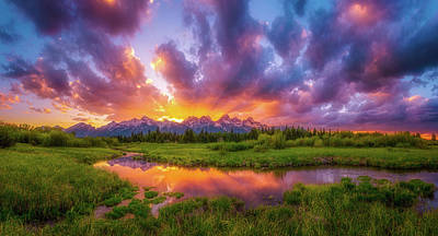 Grand Sunset In The Tetons Poster by Darren White