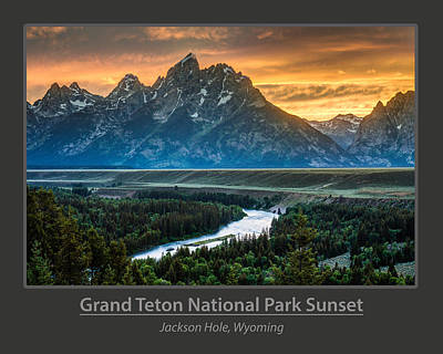 Grand Teton National Park Sunset Poster Poster by Gary Whitton