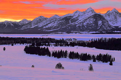 Grand Teton Winter Sunset Poster by Stephen  Vecchiotti