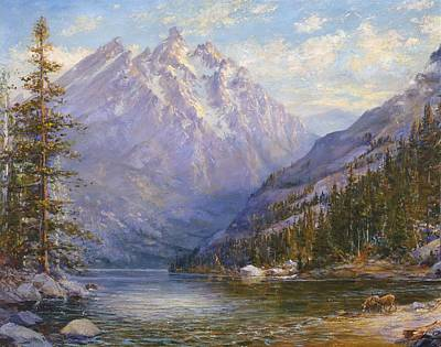 Grand Tetons And Jenny Lake Tryptych Center Poster by Lewis A Ramsey