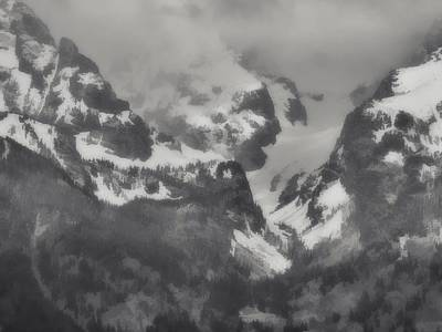 Grand Tetons Black And White Oil Poster by Dan Sproul