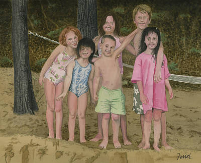 Poster featuring the painting Grandkids On The Beach by Ferrel Cordle