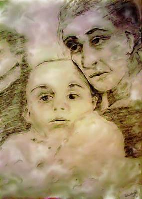 Poster featuring the drawing Grandmas Baby by Shelley Bain