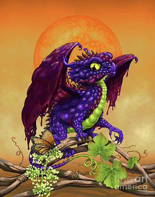 Poster featuring the digital art Grape Jelly Dragon by Stanley Morrison