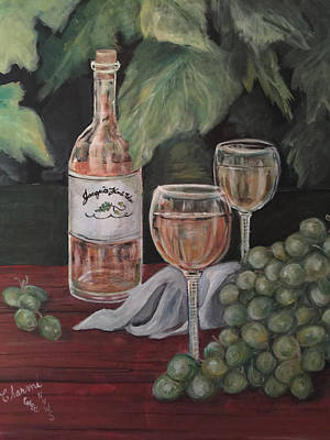 Grape Leaves And Wine Poster