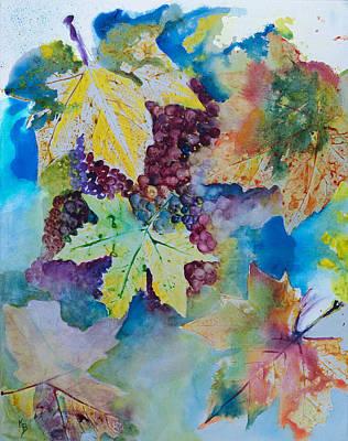 Grapes And Leaves Poster by Karen Fleschler