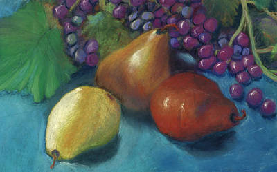 Poster featuring the pastel Grapes And Pears 2 Pastel by Antonia Citrino