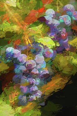 Grapes In Abstract Poster by Penny Lisowski