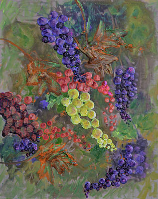 Grapes On The Vine Art Poster by Ken Figurski