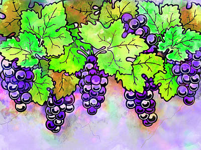Purple Grapes On The Vine - Vintage Wine Harvest - 1 In A Series Poster by Rayanda Arts