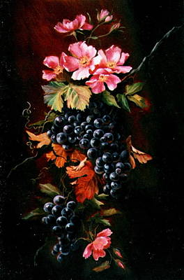 Grapes With Wild Roses Poster