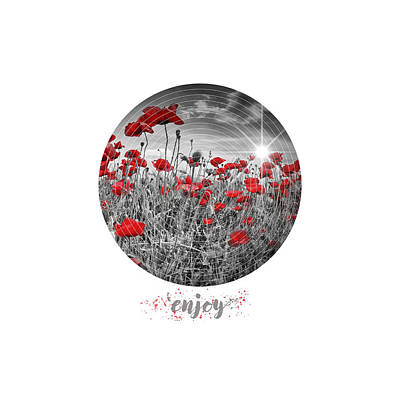 Graphic Art Enjoy Field Of Poppies - Colorkey Poster by Melanie Viola