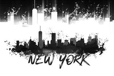 Graphic Art Nyc Skyline Splashes - Black Poster by Melanie Viola