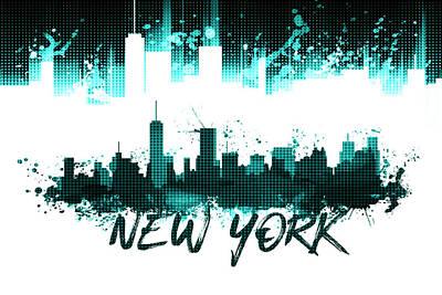 Graphic Art Nyc Skyline Splashes - Cyan Poster by Melanie Viola