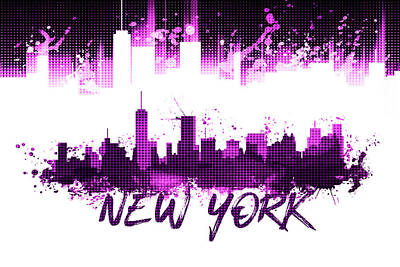 Graphic Art Nyc Skyline Splashes - Pink Poster by Melanie Viola