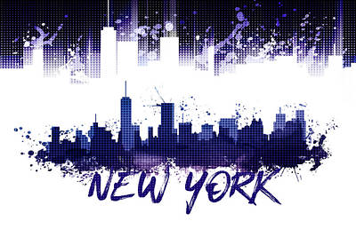 Graphic Art Nyc Skyline Splashes - Purple Poster by Melanie Viola