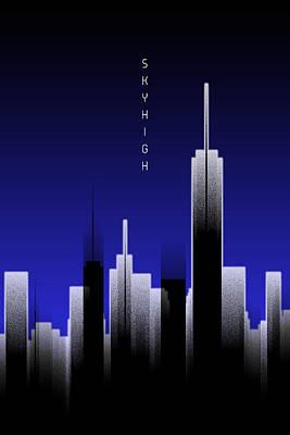 Graphic Art Skyhigh Lights - Blue Poster by Melanie Viola