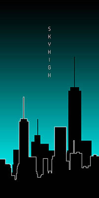 Graphic Art Skyhigh Panoramic - Cyan Poster by Melanie Viola