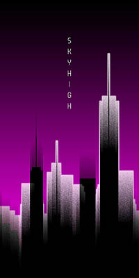 Graphic Art Skyhigh Panoramic Lights - Pink Poster by Melanie Viola