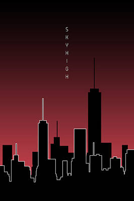 Graphic Art Skyhigh - Red Poster by Melanie Viola